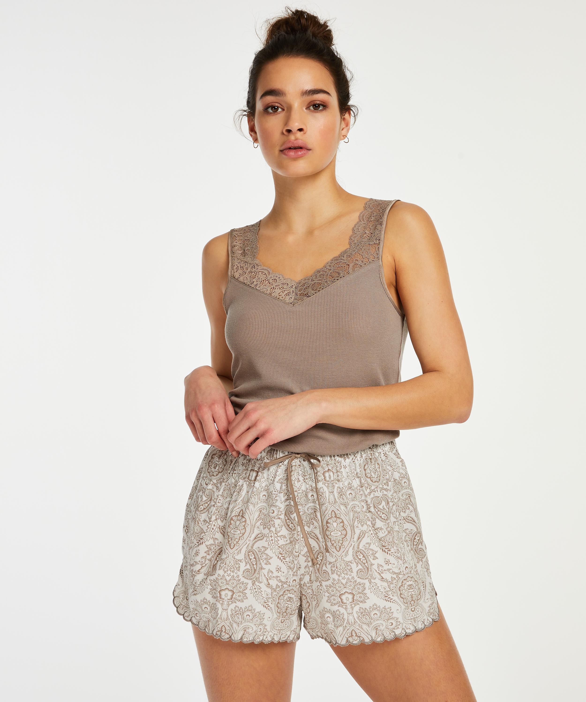 Short de pijama, Blanc, main