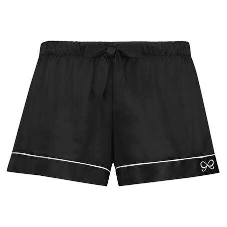 Short de pyjama satin lace, Noir