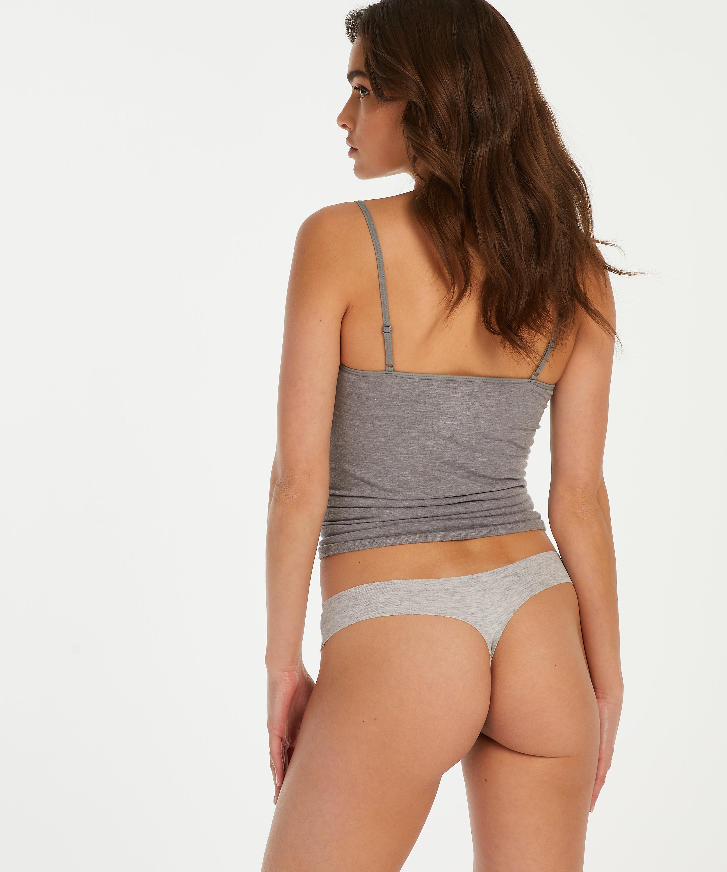 String invisible en coton, Gris, main