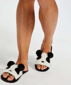 Pantoufles Panda, Noir