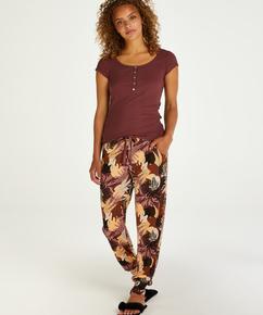 Pantalon de pyjama Jersey Abstract Leaf grande taille, Rose