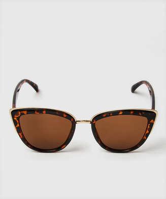 Lunettes de soleil œil de chat, marron