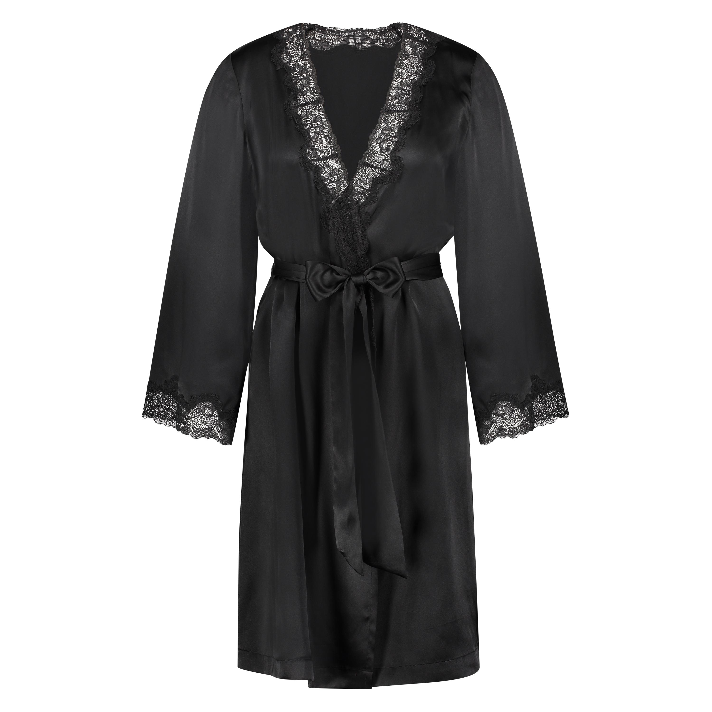 Kimono en dentelle de soie, Noir, main