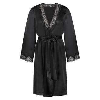 Kimono en dentelle de soie, Noir