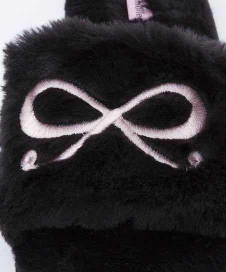 Sandales Bow fake fur, Noir