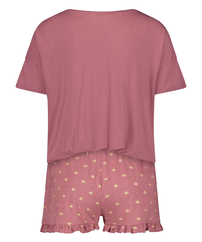 Ensemble de pyjama court, Rose, main