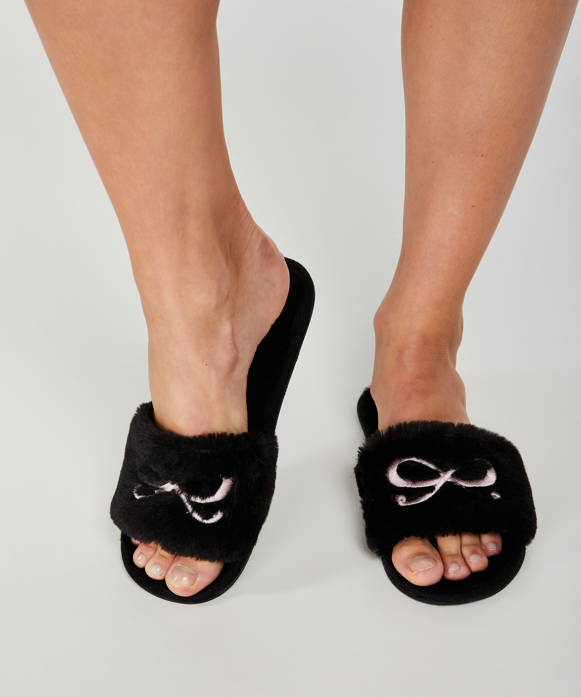 Sandales Bow fake fur, Noir, main