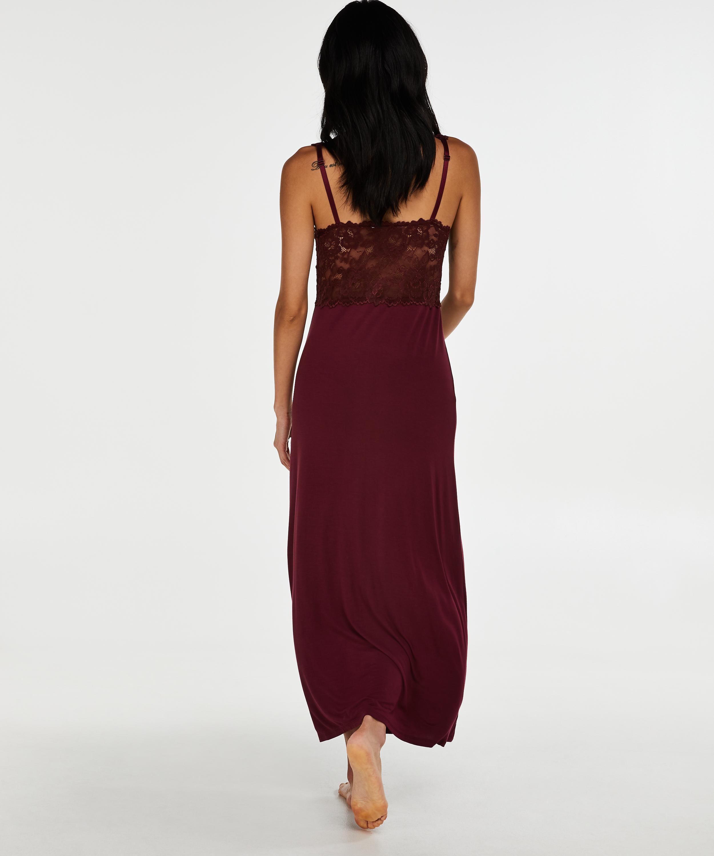 Longue nuisette Modal Lace, Rouge, main