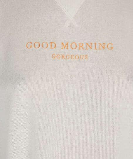 Haut de pyjama à manches courtes en jersey brossé, Blanc