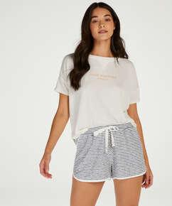 Pantalon de pyjama court Brushed Stripe, Gris