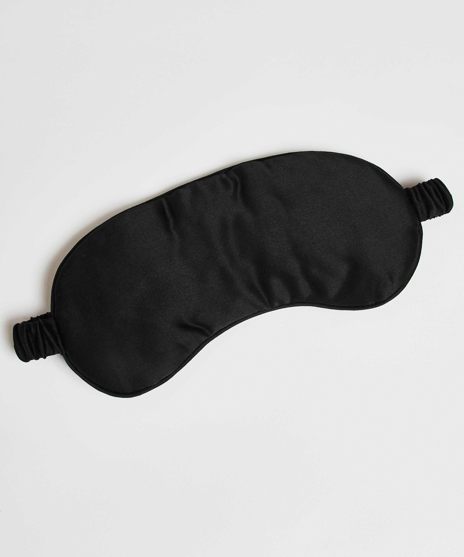Masque de sommeil en soie Noir, Noir, main