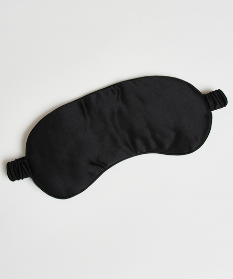 Masque de sommeil en soie Noir, Noir
