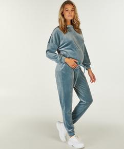 Pantalon de survêtement de maternité en velours, Bleu