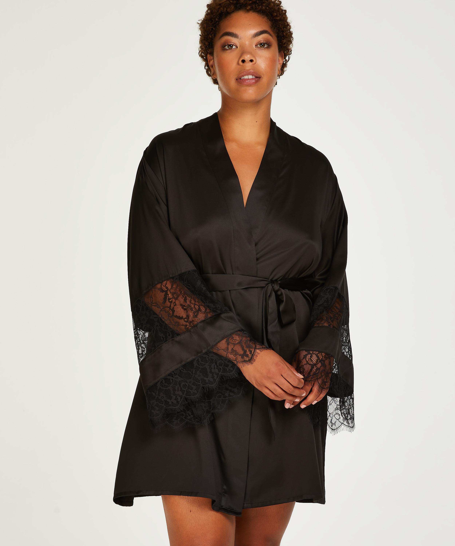 Kimono Satin en dentelle, Noir, main