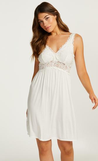 Nuisette Modal Lace, Blanc
