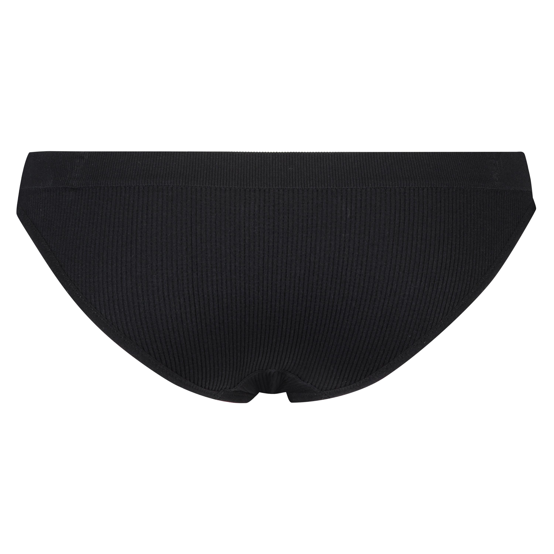 Slip brésilien taille haute sans couture, Noir, main