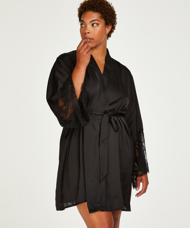 Kimono Lace Satin, Noir, main