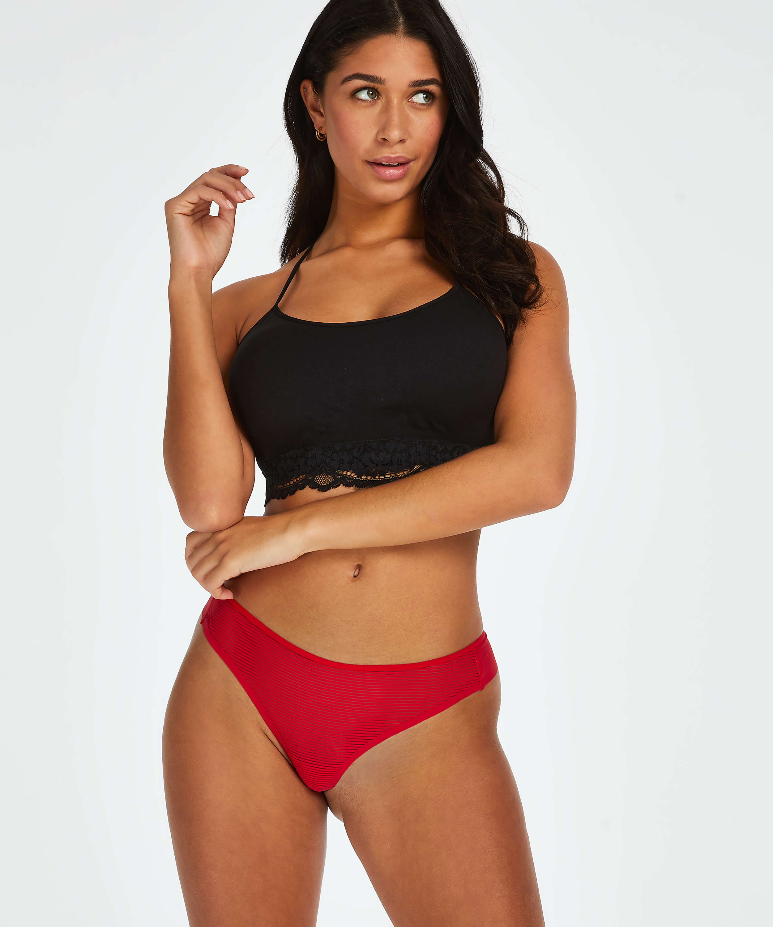 Invisible string Stripe mesh, Rouge, main