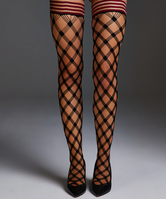 Bas autofixants Private Fishnet Crystal, Rouge
