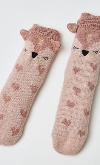 Chaussettes à semelle Renard, Rose