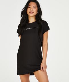 Chemise de nuit col rond, Noir