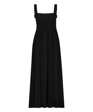 Robe longue Smocked, Noir
