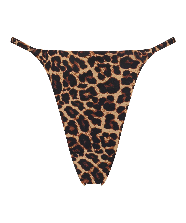 Bas de bikini string échancré Animal HKM x NA-KD, marron, main
