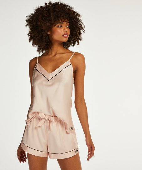 Short de pyjama satin lace, Rose