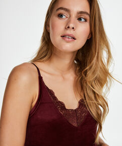 Top Velours Lace, Rouge