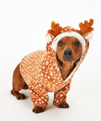 Onesie chiens en polaire, marron