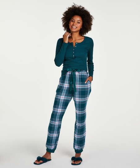 Haut de pyjama à manches longues, Bleu