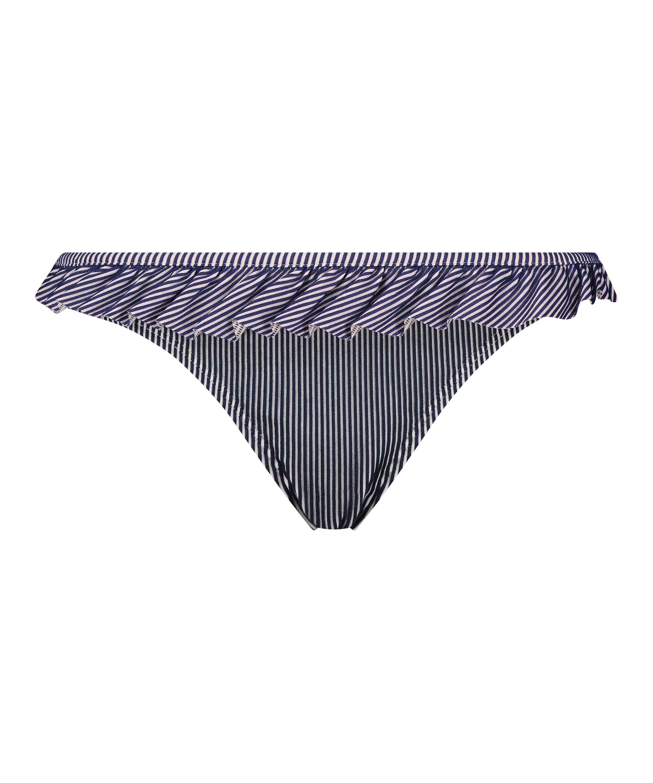 Bas de bikini Rio Ruffle Stripe, Bleu, main